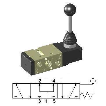Hand Lever Operated Valve 1/4″ 5/3 Pressure Center HLV450-S
