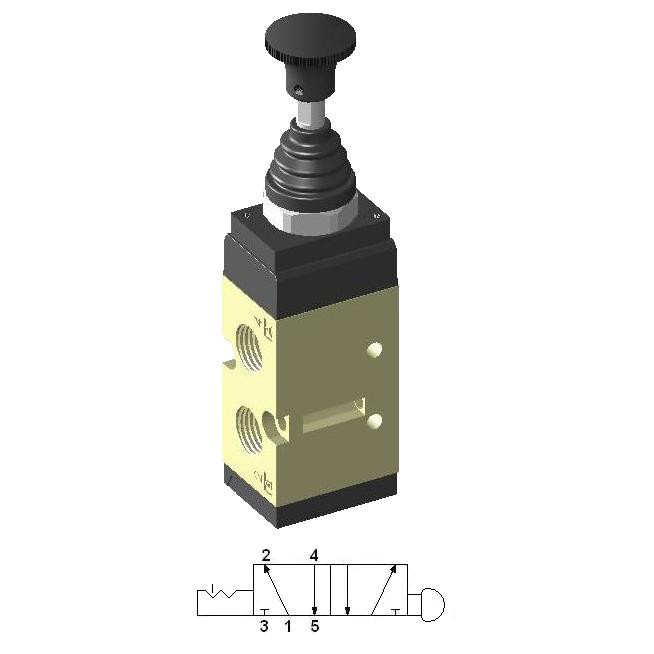 """Manually Actuated Spool Valve 5/2 no Return 1/4"""""""