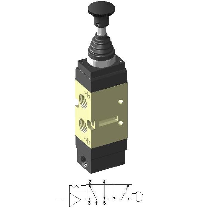 Manually Actuated Spool Valve 1/4″ 5/2