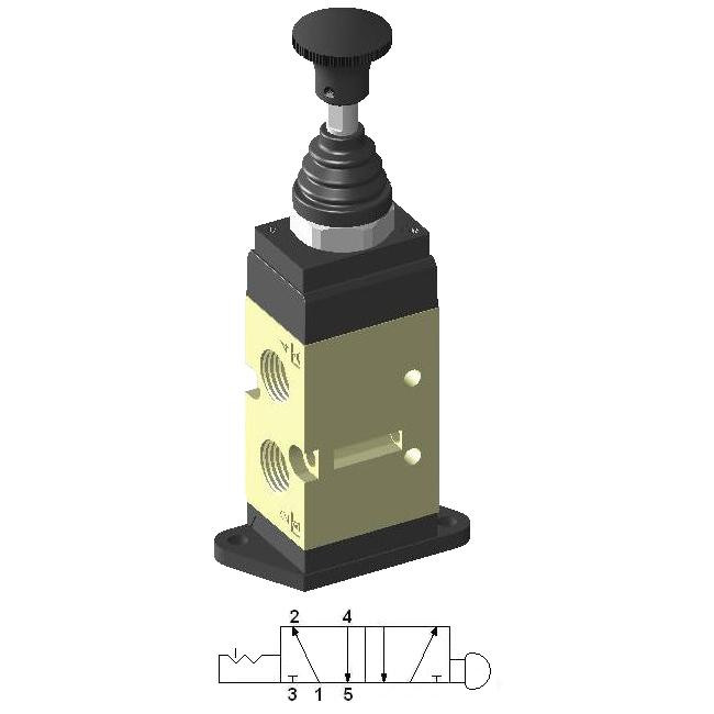 Manually Actuated Spool Valve 1/4″ 5/2 No Return, standing plate
