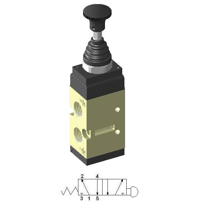 Manually Actuated Spool Valve 1/4″ 5/2 with Spring