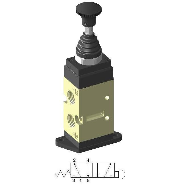 Manually Actuated Spool Valve 1/4″ 5/2 with Spring, Standing Plate