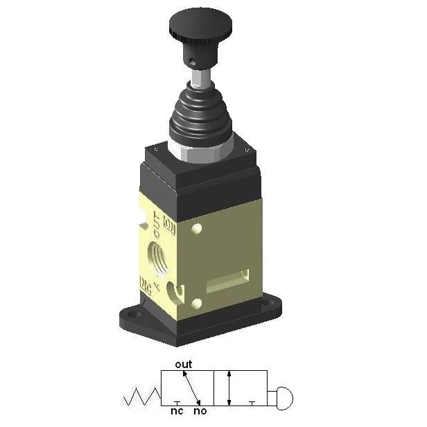 Manually Actuated Spool Valve 1/4″ 3/2 with spring, standing plate