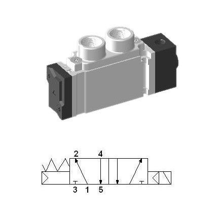 SCEP311 - G 1/8, 5/2 Single Pneumatic Valve