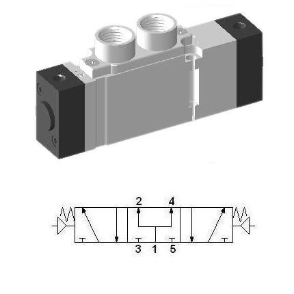Pneumatic Valve SCEP453 - 5/3 Pressure Center