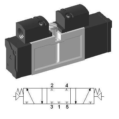 SIP233 - 5/3 Closed Center Pneumatic Valve by YPC