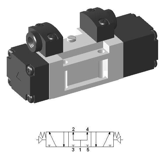 Pneumatic Valve ISO-1 SIP453, 5-way, 3-position