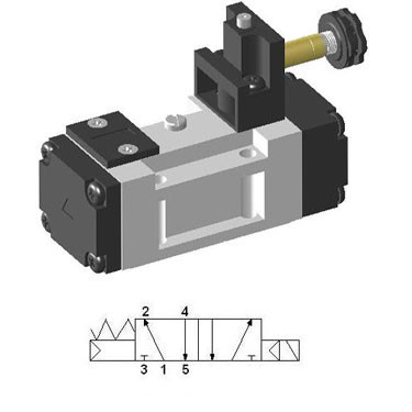 Solenoid valve 5/2 single, sub-base mounted ISO-1