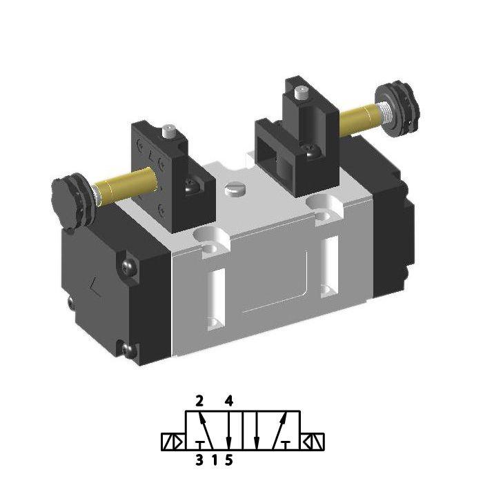 Solenoid valve ISO-2 5/2 double