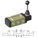 Hand Lever Operated Valve 3/8″ 5/3 Pressure Center, no Return HLV